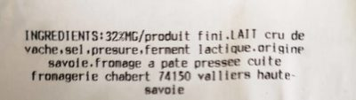 Gruyère français igpchambotte - Ingredients