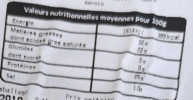 Gruyère français igpchambotte - Nutrition facts