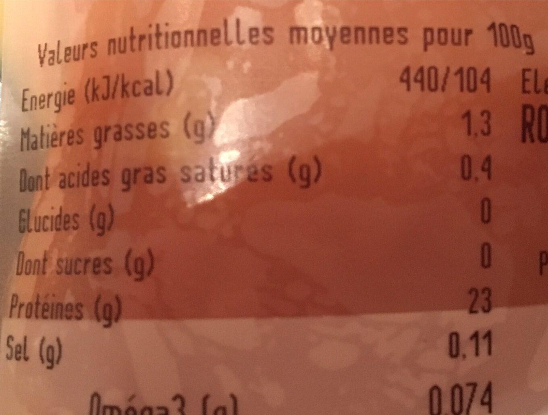 Filet de poulet - Informations nutritionnelles