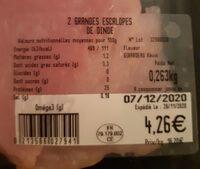 Grandes escalopes de dinde - Informação nutricional - fr