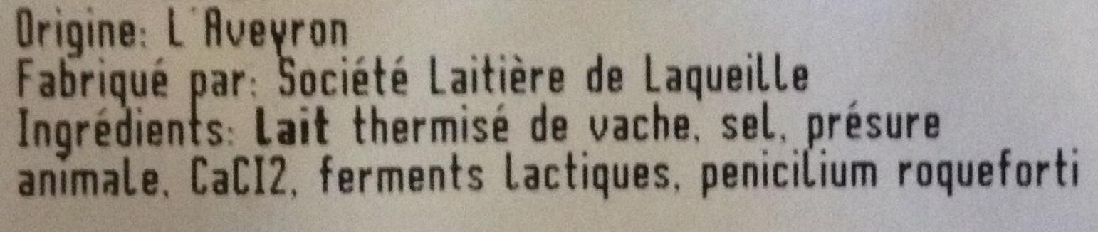 Bleu des Causses Aigle Noir AOP (30% MG) - Ingrédients - fr