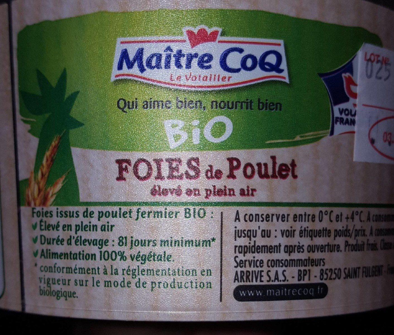 foies de poulet fermier bio - Ingrédients