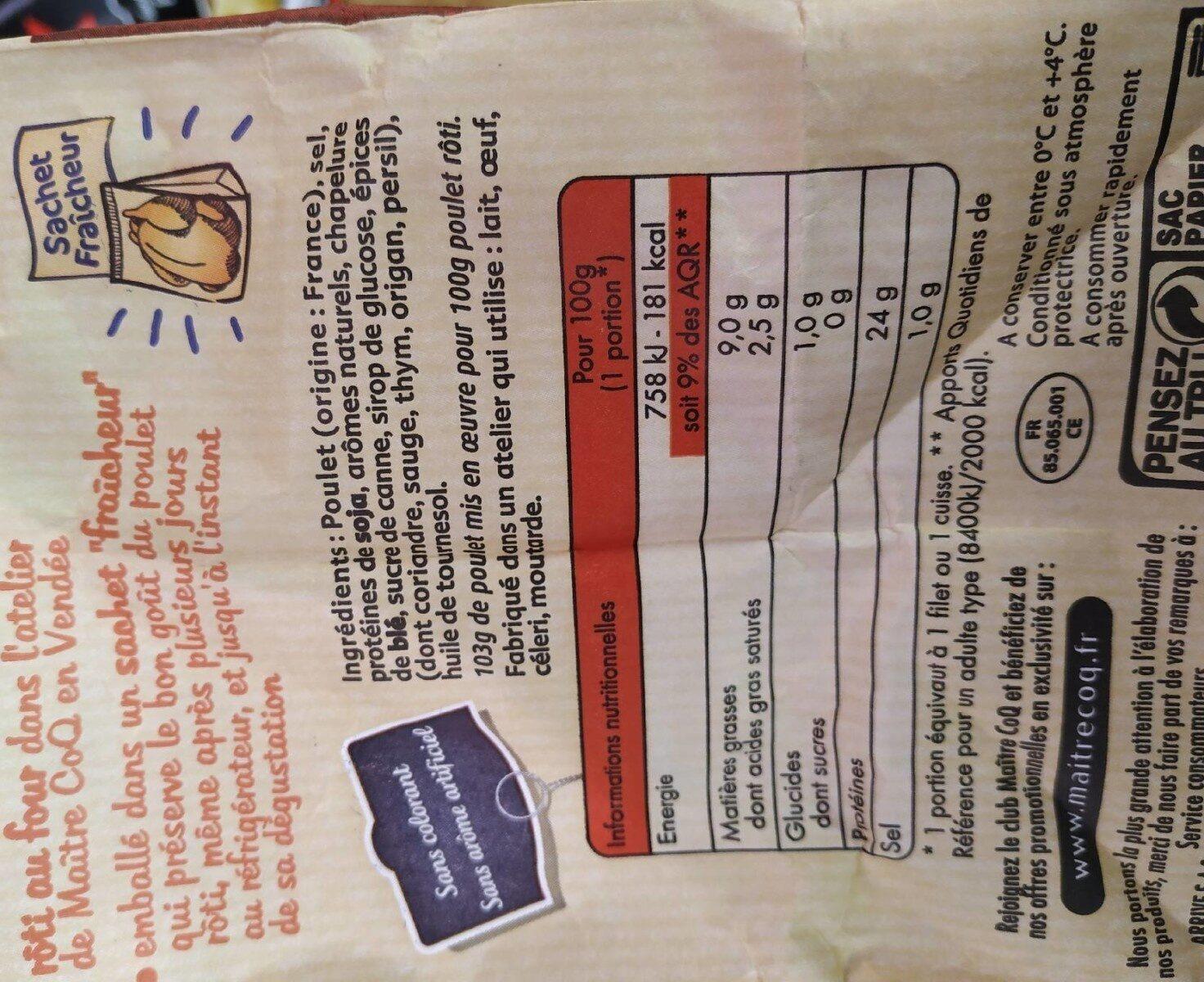 Le poulet du rôtisseur - Informations nutritionnelles