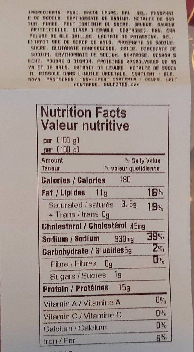 Jambon bacon - Nutrition facts - fr