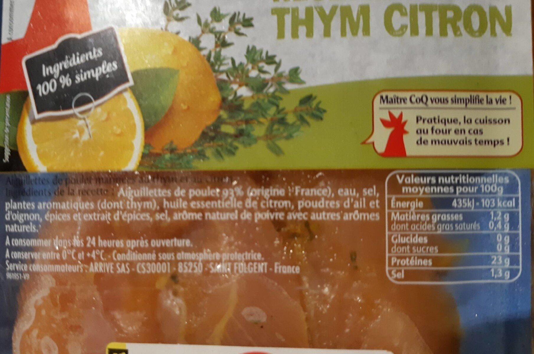 Aiguillettes de poulet recette thym citron - Nutrition facts - fr