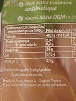 Poulet nourri aux graines de lin - Nutrition facts - fr