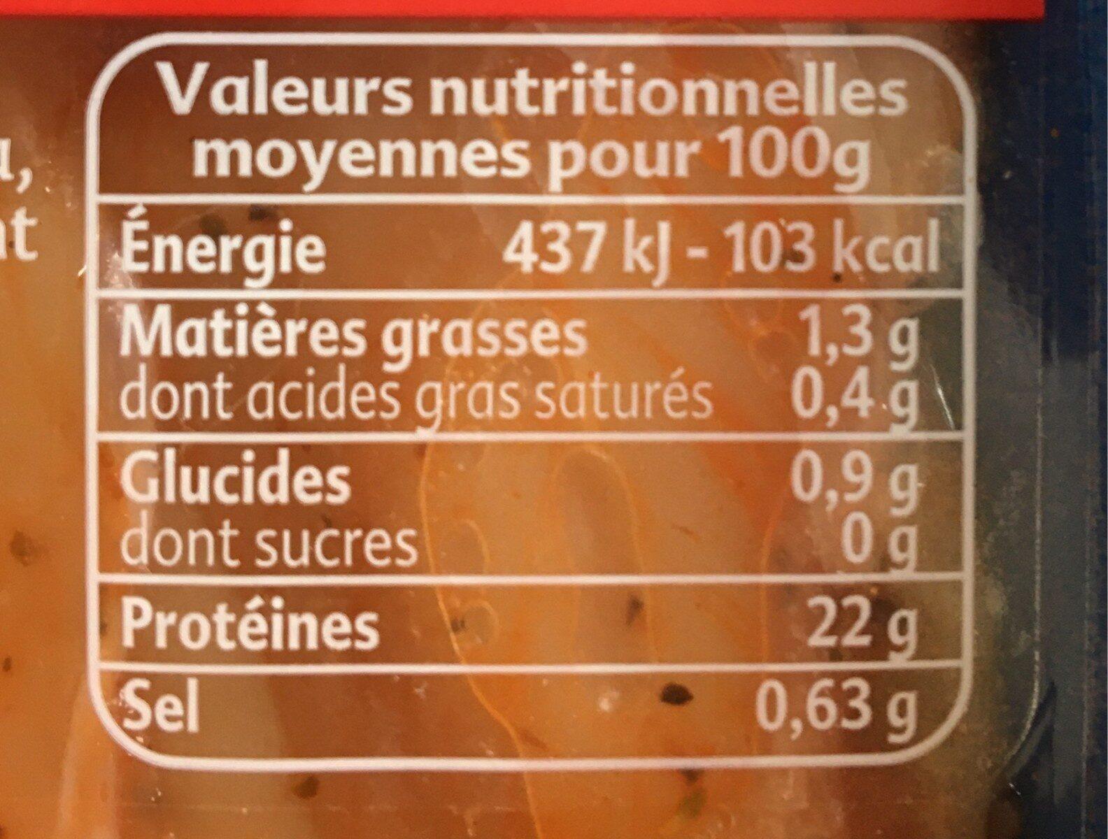 aiguillettes de poulet tomates origan - Valori nutrizionali - fr