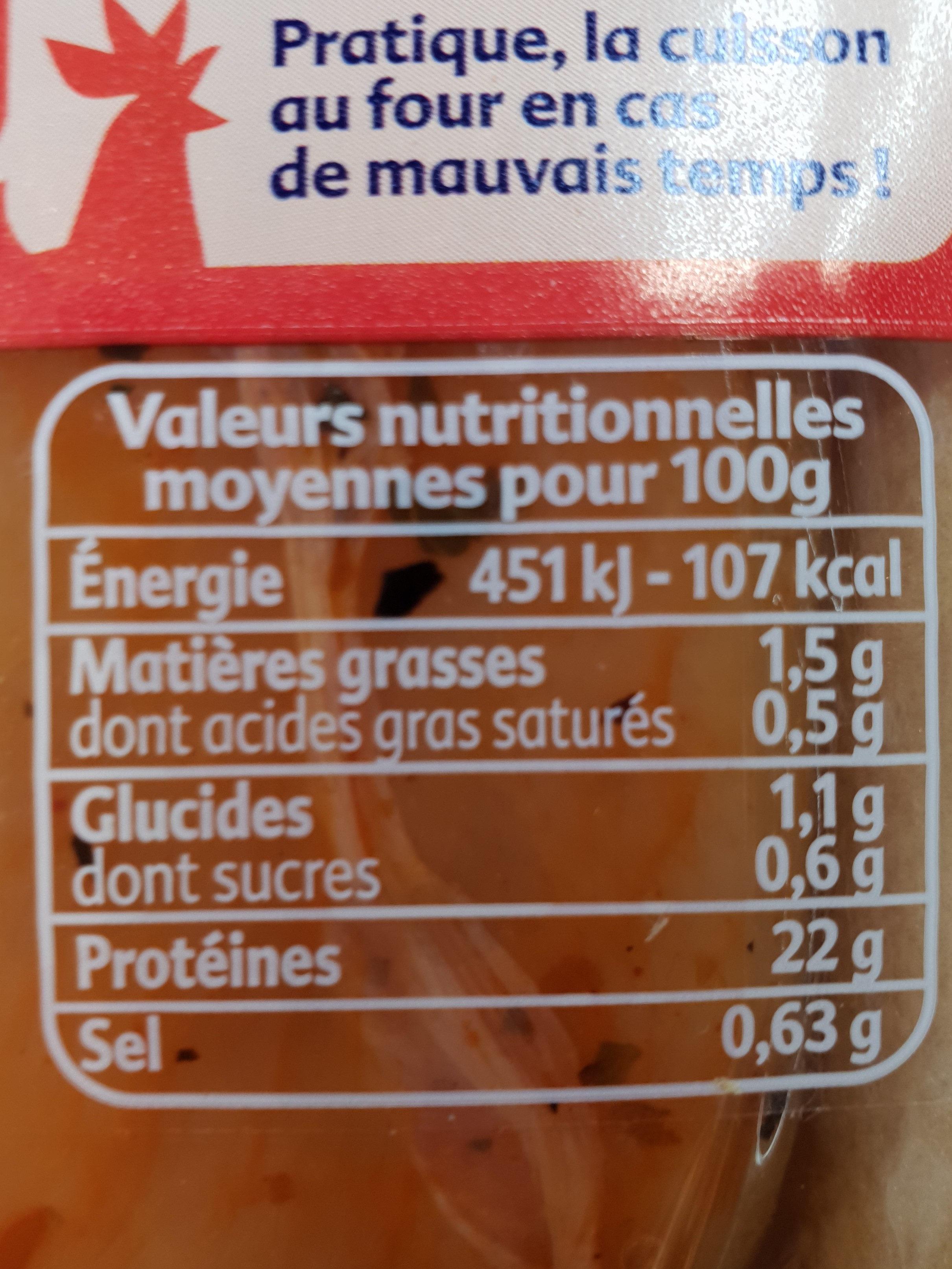 aiguillettes de poulet marinées tomate origan - Informations nutritionnelles - fr