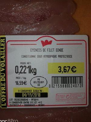 Filet de dinde émincé - Ingredients - fr