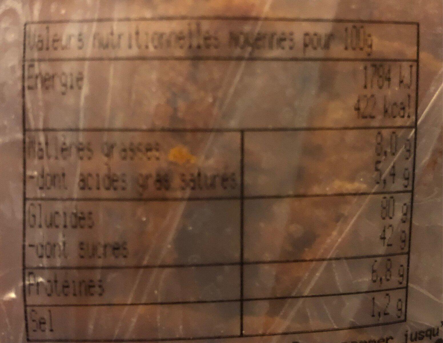 Pain d'épices maison - Informations nutritionnelles - fr