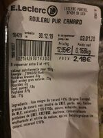Rouleau pur canard - Nutrition facts