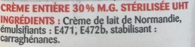 Crème entière de Normandie - Ingrediënten - fr