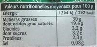 Crème entière de Normandie - Voedingswaarden - fr
