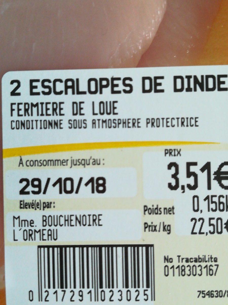 2 escalopes de dinde - Ingredients - fr
