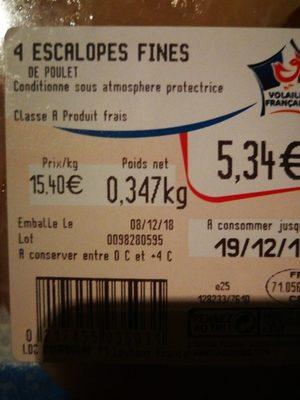 Escalopes de poulet - Ingredients - fr