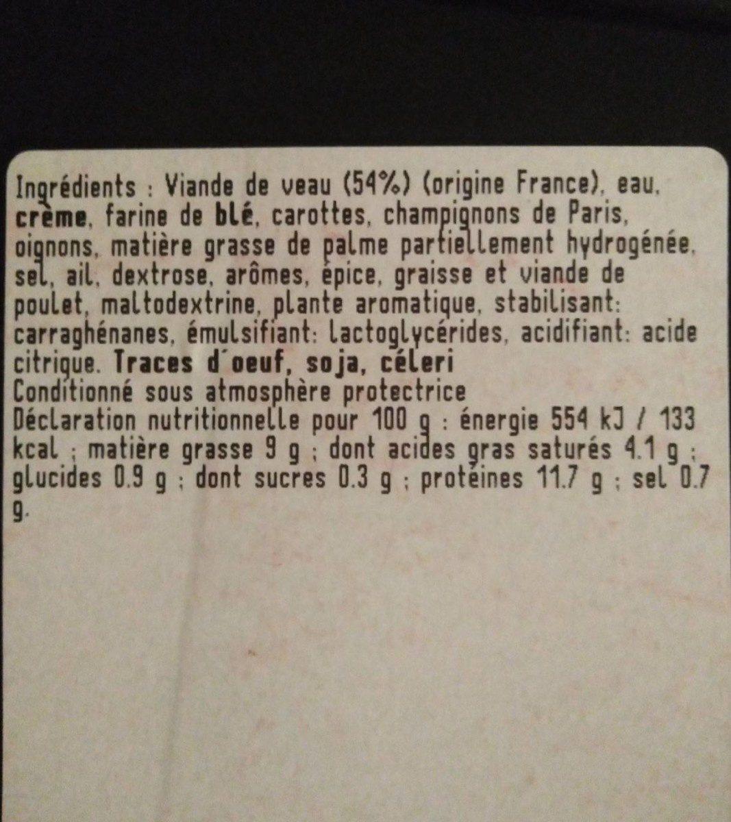 Blanquette de veau 5 a 6 parts - Ingrediënten