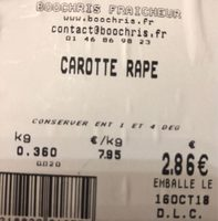 Carotte rape - Ingrédients