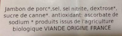Jambon blanc - Ingrédients - fr