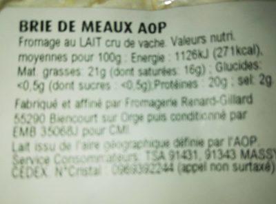 Brie de métaux AOP au lait cru - Ingrédients