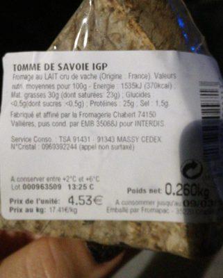 Tomme de Savoie - Ingrédients - fr