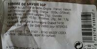 Tomme de Savoie IGP - Nutrition facts