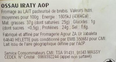 Ossau iraty Aop du Pays-Basque - Ingrédients