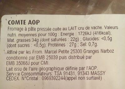 Comté AOP - Ingrédients - fr
