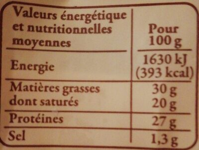 Beaufort - Nutrition facts - fr