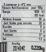 Beaufort AOP au lait cru - Nutrition facts - fr