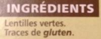 Lentilles vertes - Ingrédients