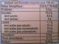 Boisson au riz nature La Vie Claire - Nutrition facts - fr