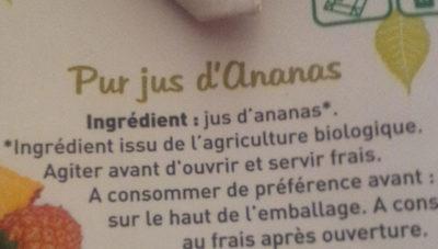 jus d'ananas bio - Ingredients - fr