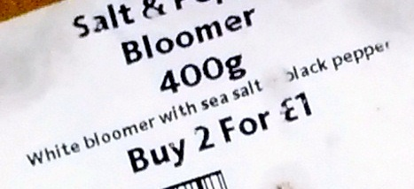 Salt & Pepper Bloomer 400g - Ingredients