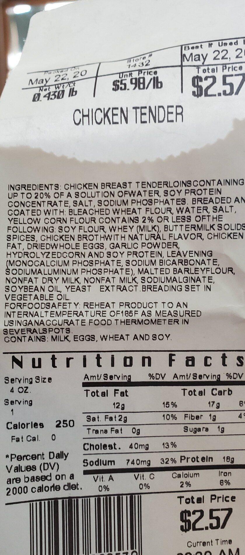 Wal Mart Chicken Tenders - Ingredients - en