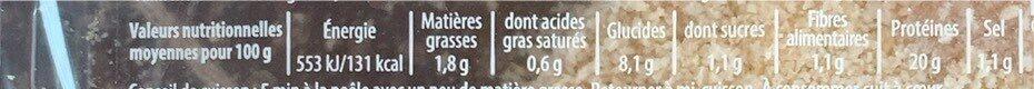 Les Milanaises du Chef - Informations nutritionnelles - fr
