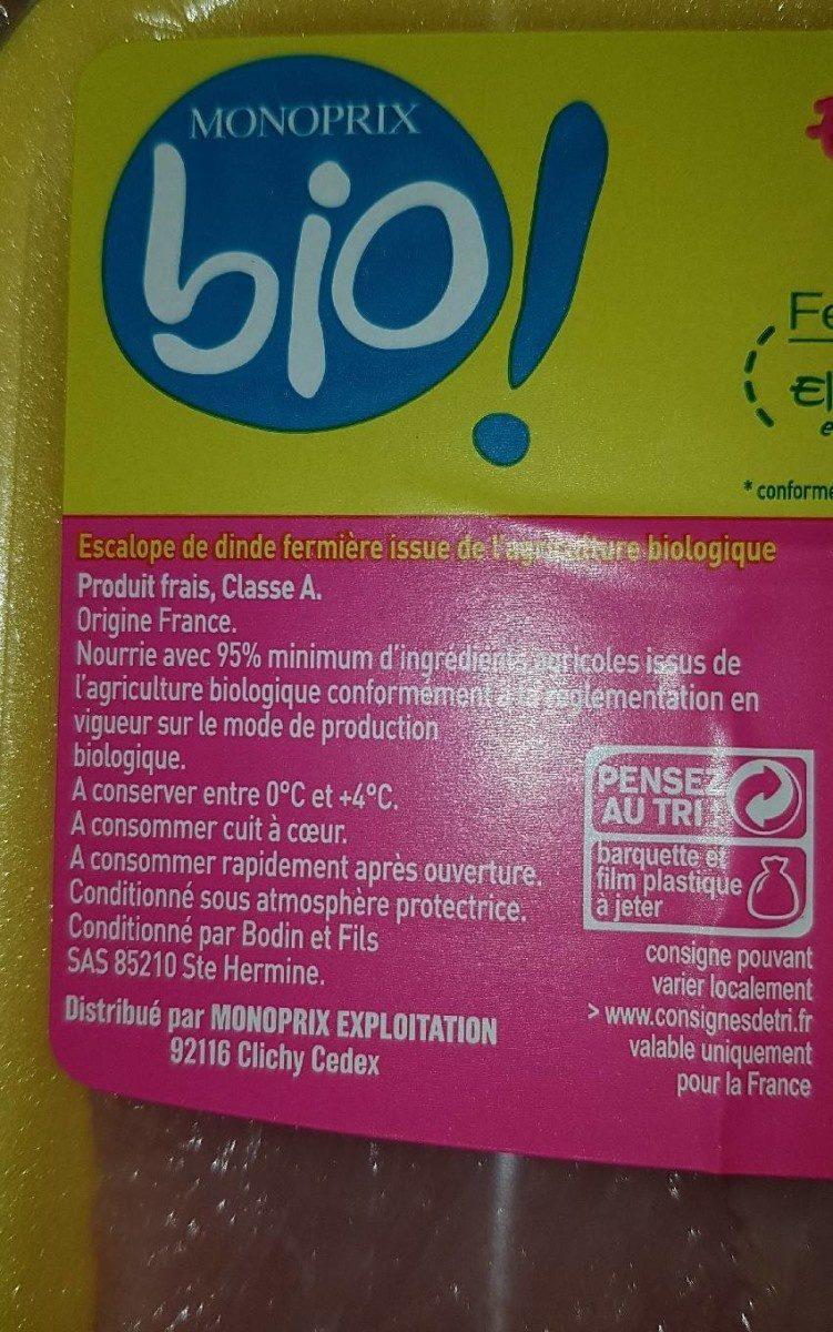 Escalope de dinde - Ingrediënten - fr