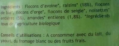 Muesli céréales et fruits secs - Ingrédients