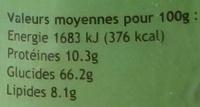 Muesli céréales et fruits secs - Informations nutritionnelles