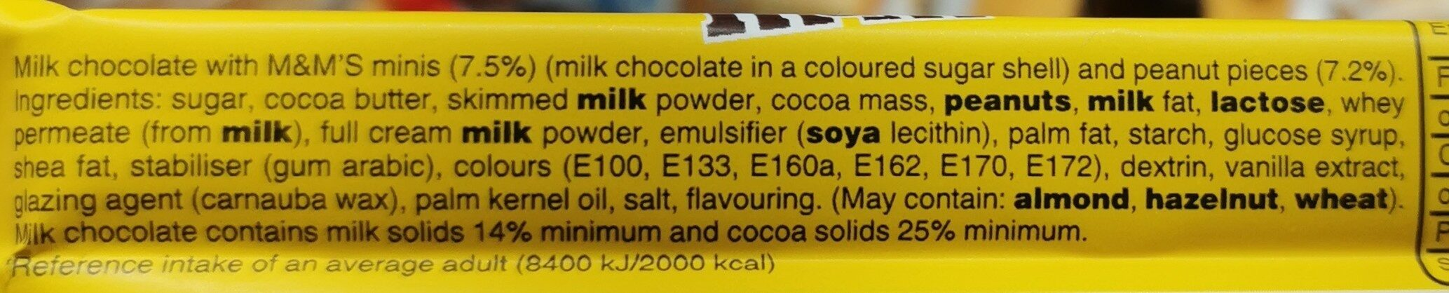 Mnm bar - Ingredients - en