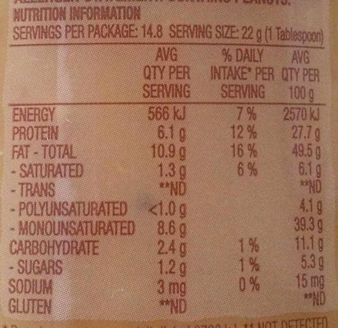 Simply Nuts Rustic Grind - Nutrition facts - en