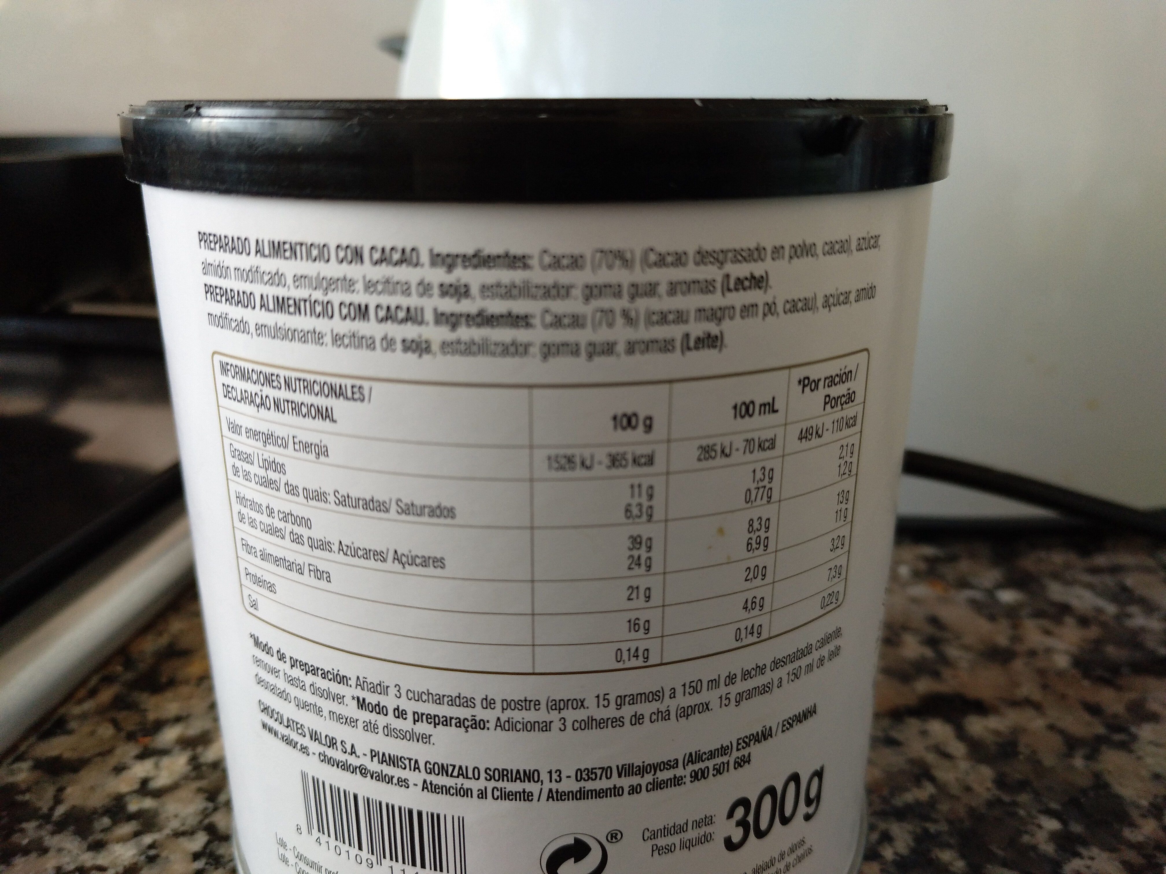 Cacao negro soluble 70 por ciento - Ingrediënten - es
