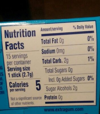 Peppermint long lasting flavor sugarfree gum, peppermint - Nutrition facts - en