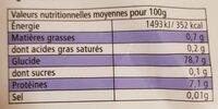Riz long basmati - Informations nutritionnelles - fr