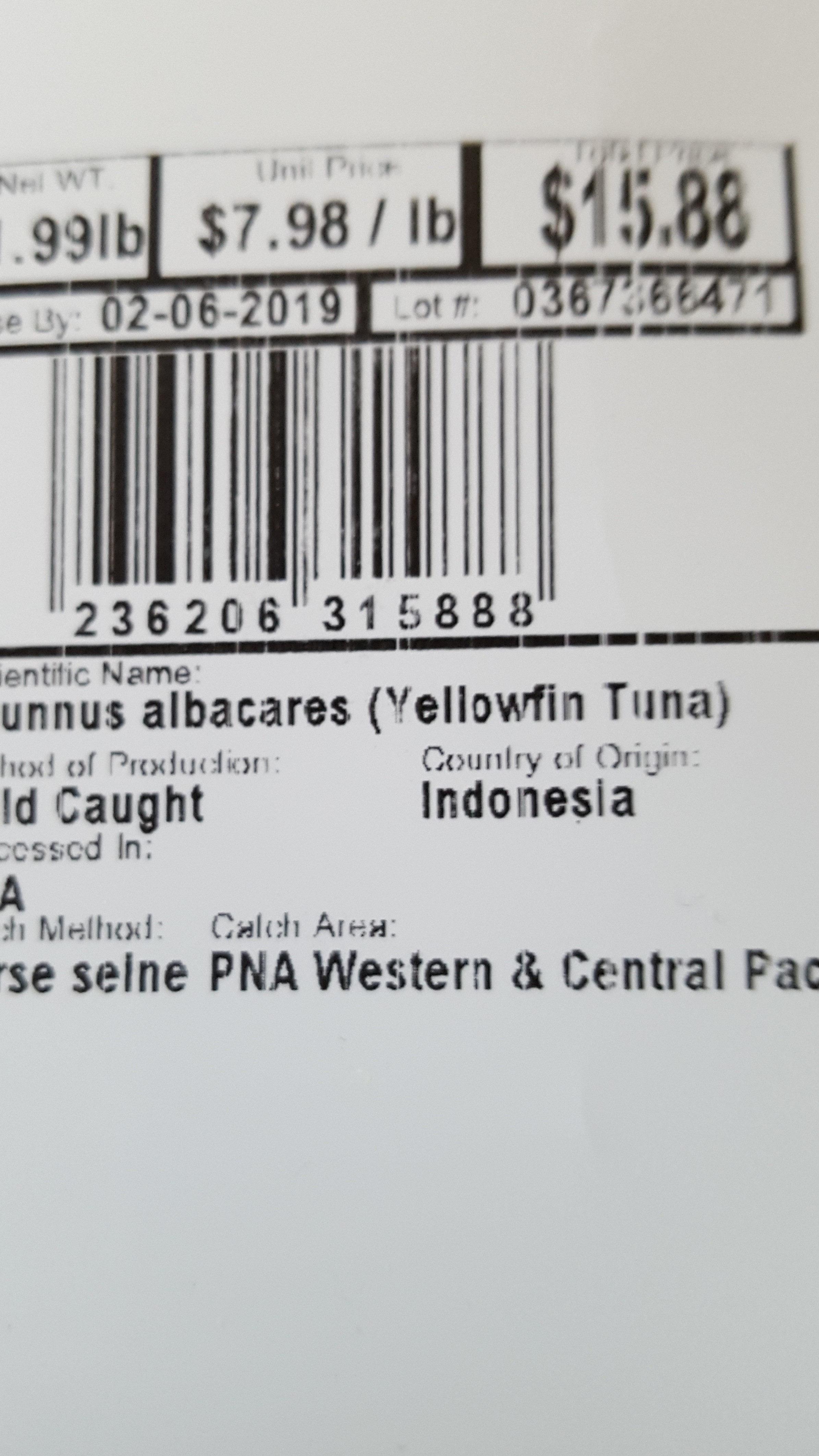 Ahi Tuna Steak - Ingredients - en