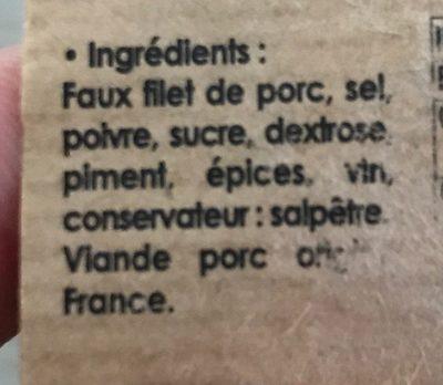 Lonzo de l'ile de beautè - Ingrédients