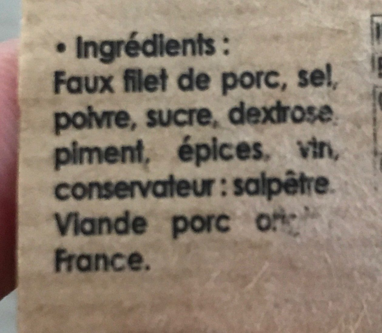 Lonzo de l'ile de beautè - Ingrédients - fr