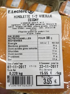Mimolette 1 Leclerc Calories Et Informations Nutritionnelles