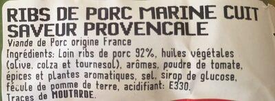 Ribs à la provençale - Ingrédients