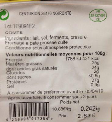 Comté - Ingredienti - fr