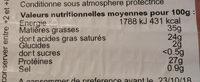 Comté - Nutrition facts - fr